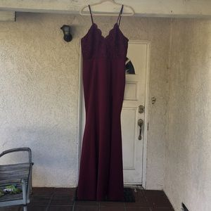 Lulu's Dresses - Burgundy lace maxi dress with slit in the front